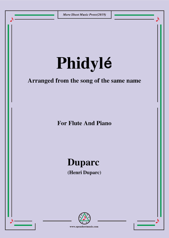 Duparc-Phidylé,for Flute and Piano