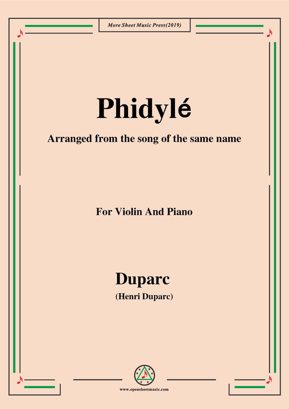 Duparc-Phidylé,for Violin and Piano
