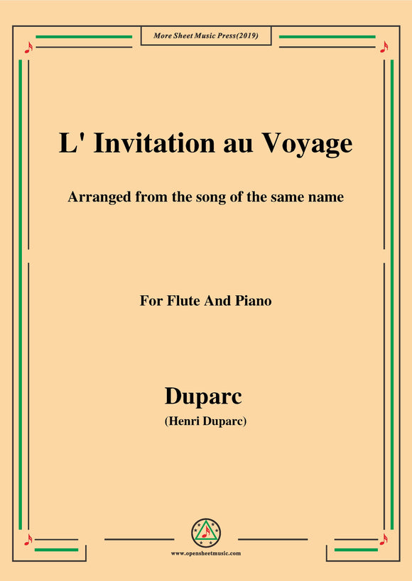 Duparc-L'invitation au voyage,for Flute and Piano