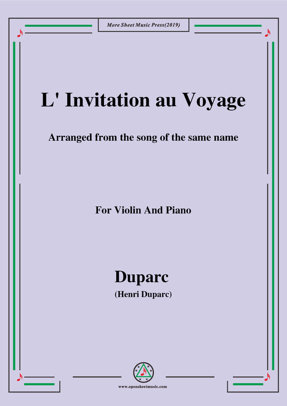 L'invitation au voyage,for Violin and Piano