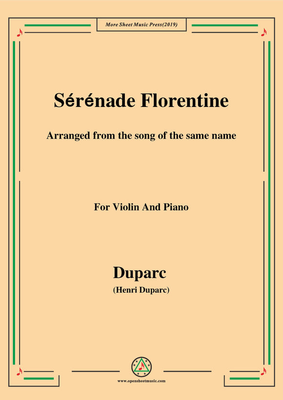 Duparc-Sérénade Florentine,for Violin and Piano