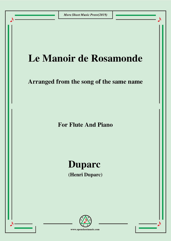 Duparc-Le Manoir de Rosamonde,for Flute and Piano