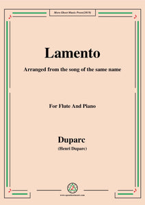 Duparc-Lamento,for Flute and Piano