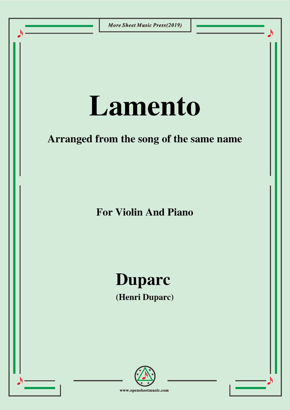 Duparc-Lamento,for Violin and Piano