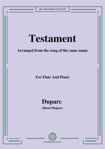 Duparc-Testament,for Flute and Piano
