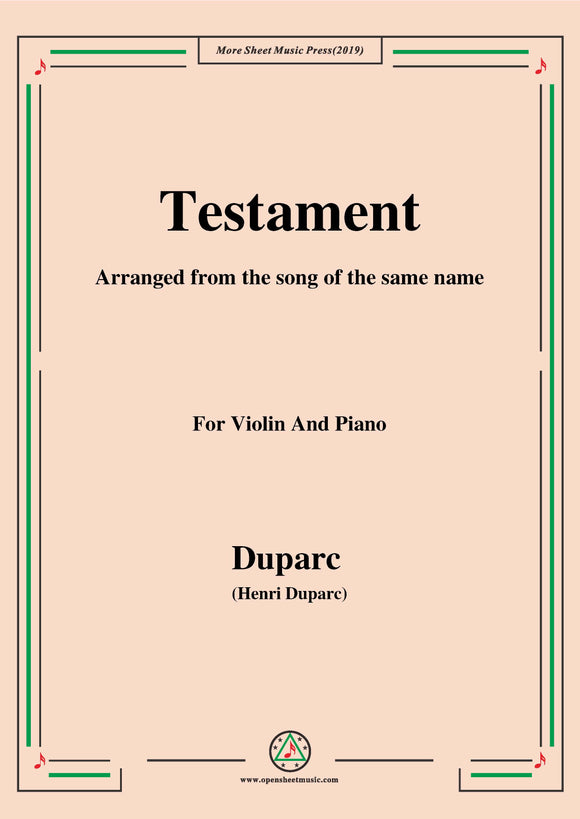 Testament,for Violin and Piano