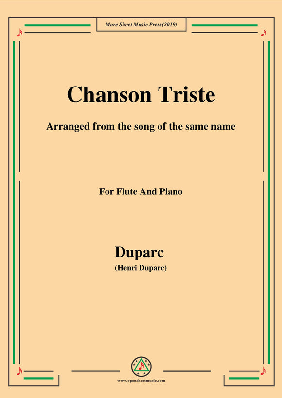 Duparc-Chanson Triste,for Flute and Piano