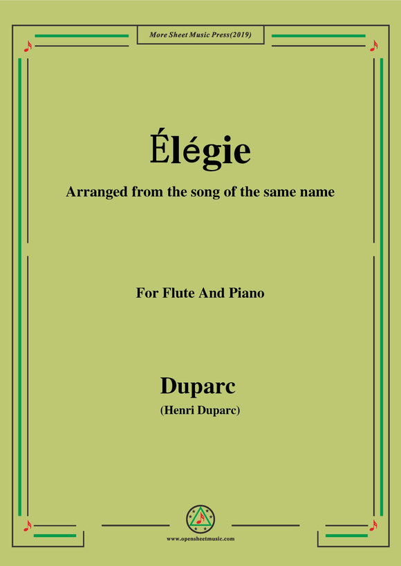 Duparc-Élégie,for Flute and Piano