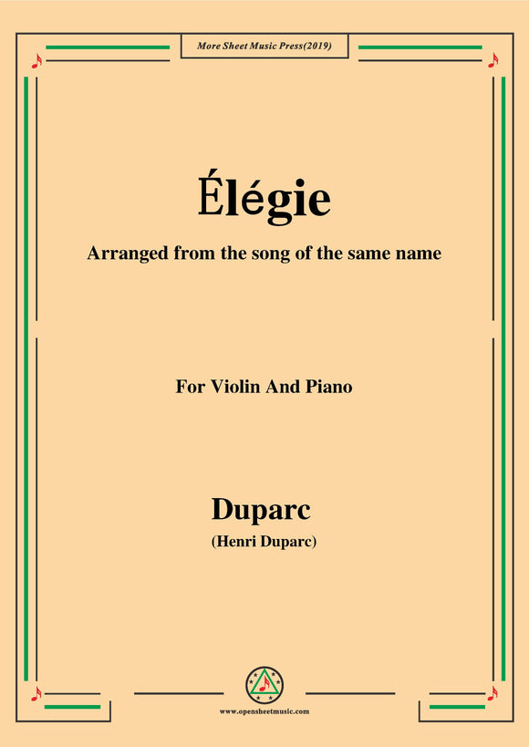 Duparc-Élégie,for Violin and Piano