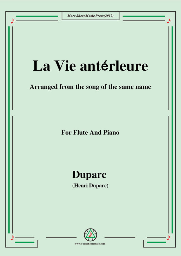 Duparc-La Vie antérleure,for Flute and Piano