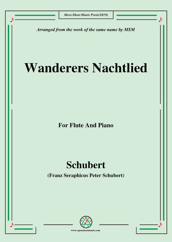 Schubert-Wanderers Nachtlied,for Flute and Piano