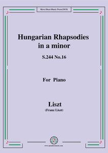 Liszt-Hungarian Rhapsodies,S.244 No.16