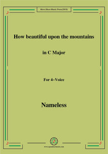 Nameless-Christmas Carol,How beautiful upon the mountains,in C Major,for 4 Voice