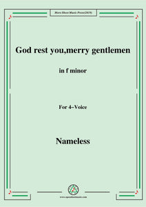 Nameless-Christmas Carol,God rest you,merry gentlemen,in f minor,for 4 Voice