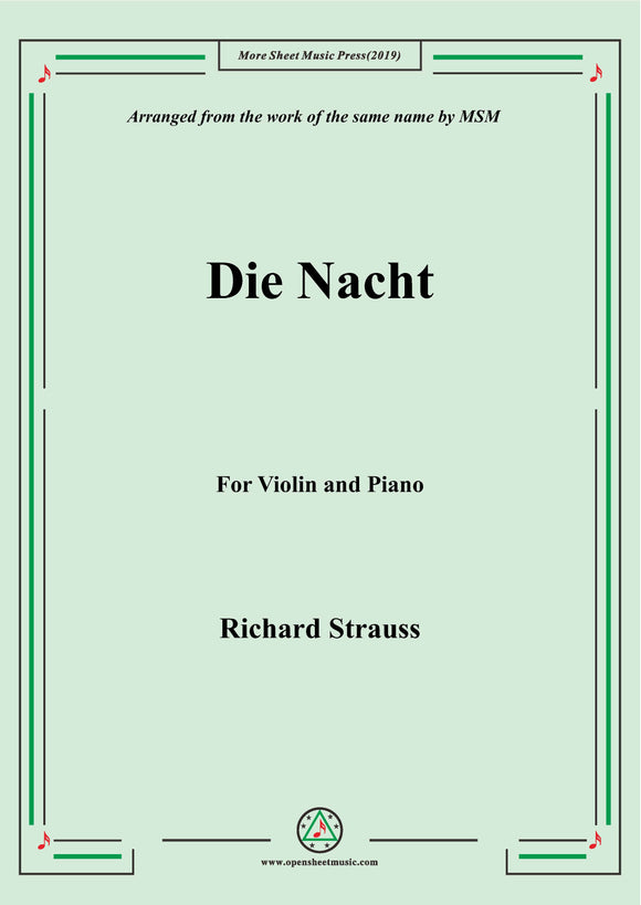 Richard Strauss-Die Nacht, for Violin and Piano