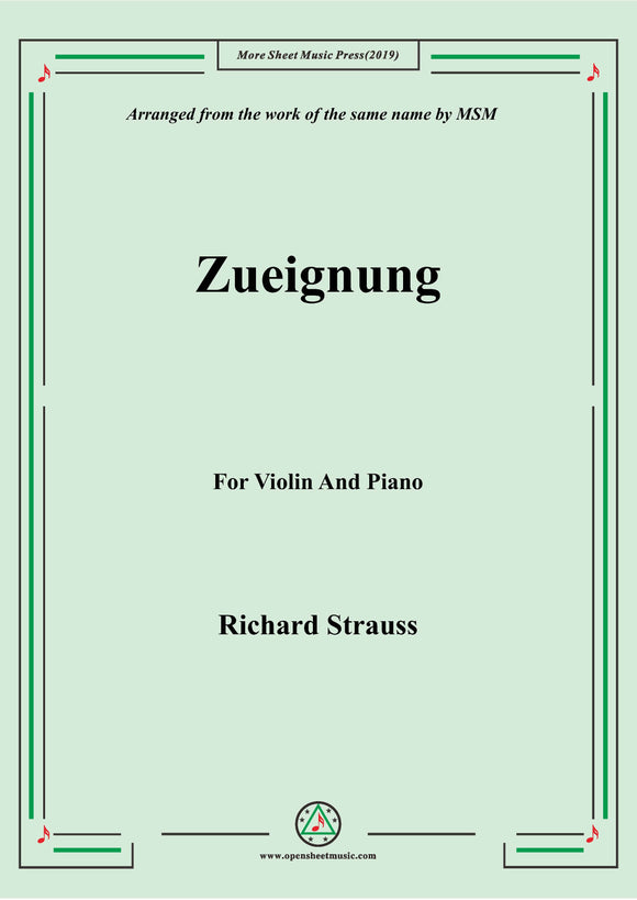 Richard Strauss-Zueignung, for Violin and Piano