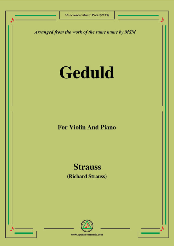 Richard Strauss-Geduld, for Violin and Piano
