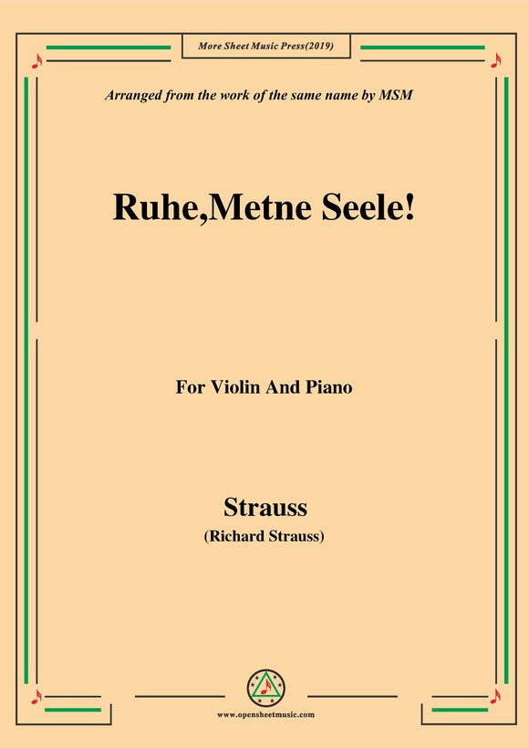 Richard Strauss-Ruhe,Meine Seele!, for Violin and Piano