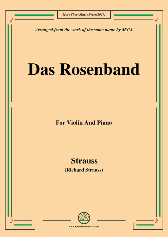 Richard Strauss-Das Rosenband, for Violin and Piano