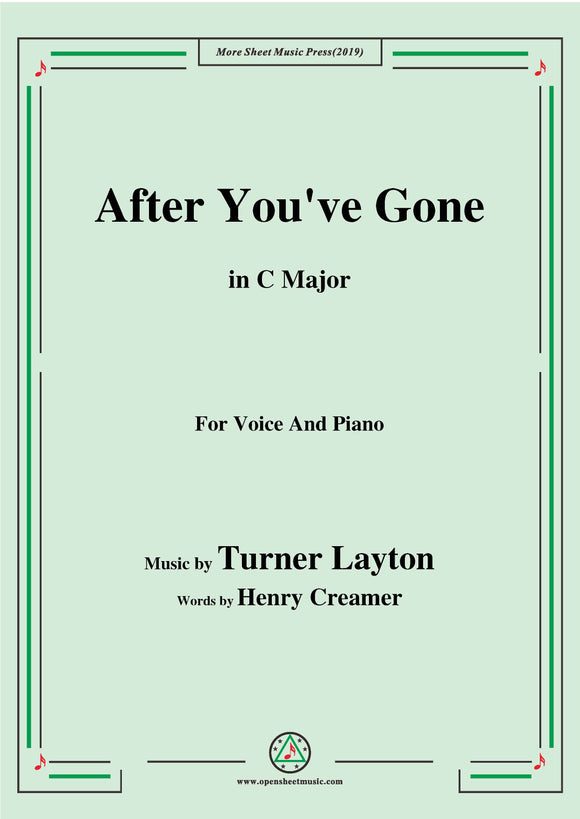 Turner Layton-After You've Gone,for Voice and Piano