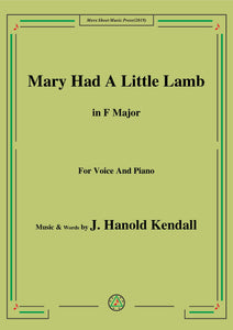 J. Hanold Kendall-Mary Had A Little Lamb