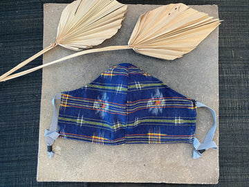 Japanese Silk Kasuri Mask (Kachikaeshi Plaid)