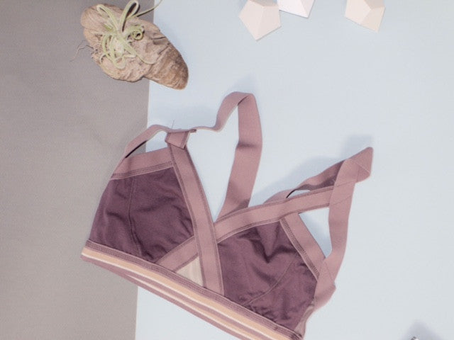Insertion Bra: Taupe Stripe