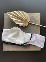 Japanese Cotton Shibori Navy Mask with Elastics Around Head