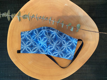 Japanese Cotton Shibori Light Blue Mask with Elastics Around Head