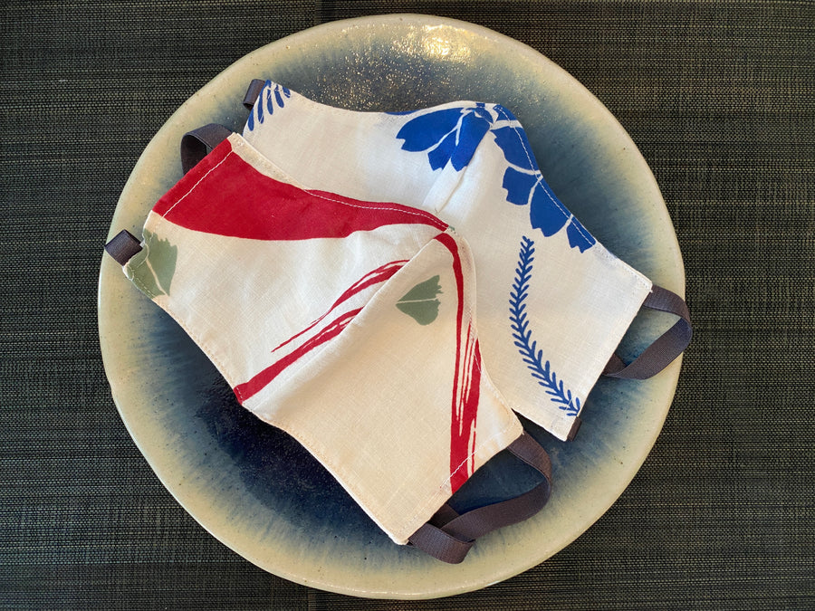 A Set of 2 Summer Prints: Japanese Cotton Yukata Face Masks (Blue x Red)