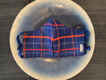 Japanese Vintage Silk Kasuri Mask (Navy x Red Plaid)