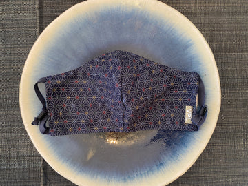 Japanese Cotton Mask (Asanoha with Red & Blue)