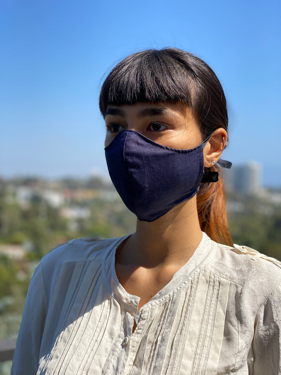 Japanese Fine Cotton Mask (Japan Blue / Solid Navy)