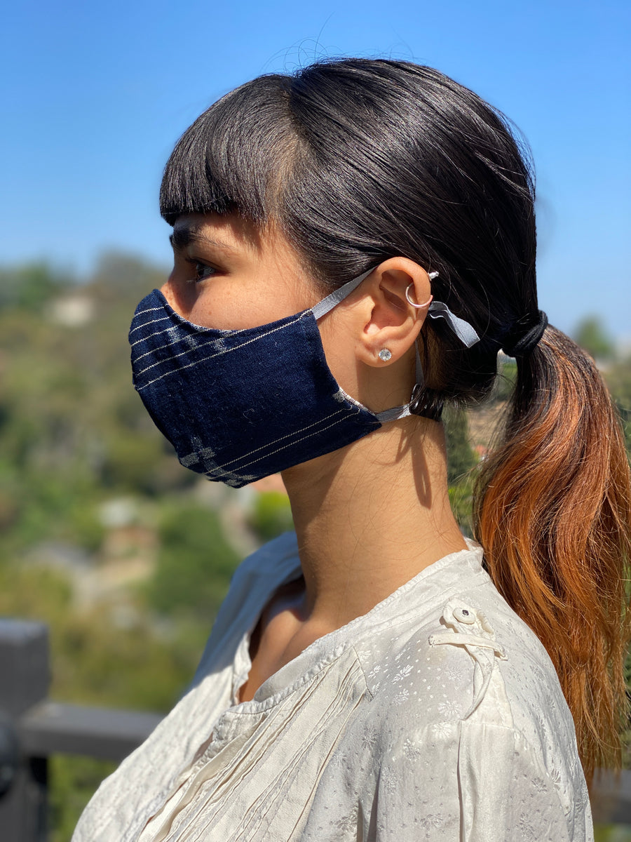 Japanese Vintage Aizome Ear Loop Face Mask with/without Nose Wire and Toggles (Shima Igeta)