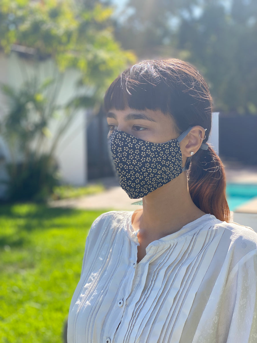 Japanese Cotton Mask (Navy Sakura)