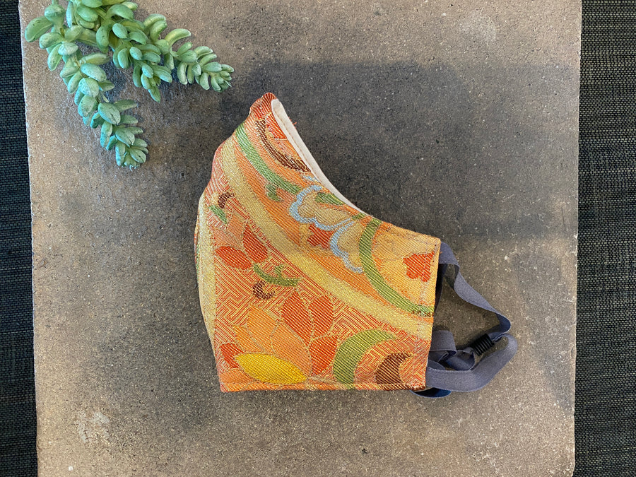 Japanese Vintage Silk Maruobi Mask (Orange x Sayagata)