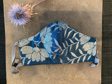 Japanese Vintage Obi Mask (Holiday Blue & Silver)