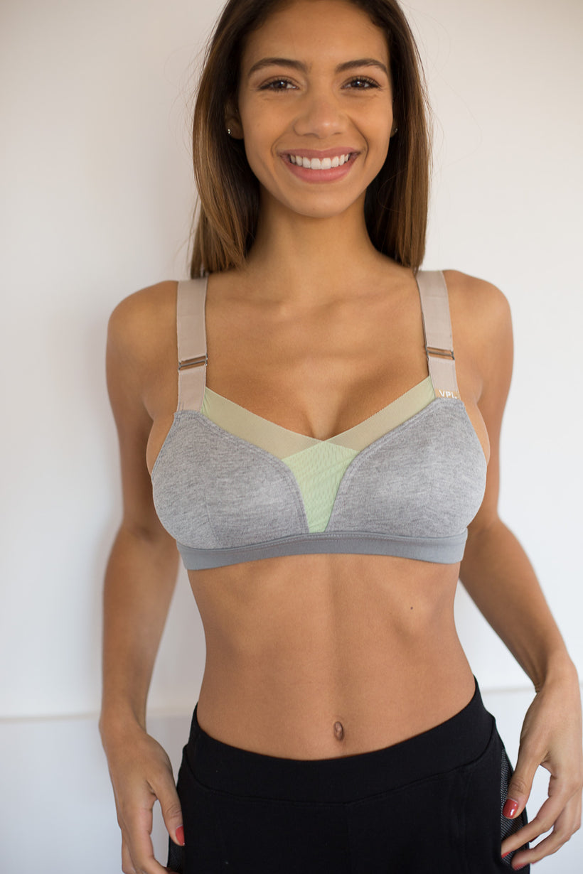 "B Bra ""Upcycle"": Heather Grey/ Mint"
