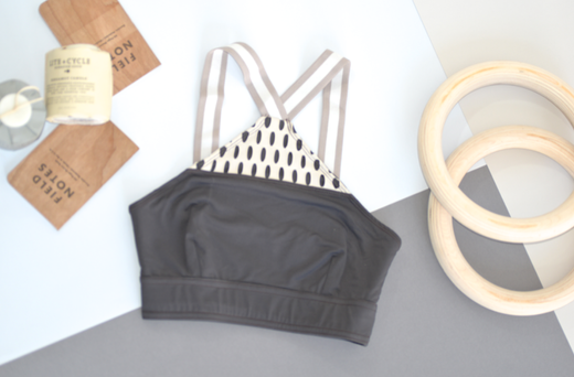 Inlay Bra: Charcoal