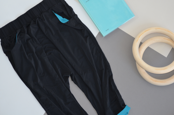 Tracking Pants: Black & Turquoise