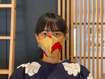 Japanese Vintage Silk Maruobi Mask (Red & Gold)