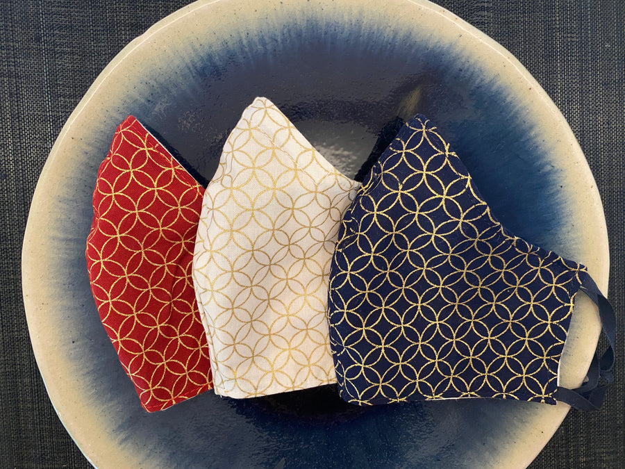 A Set of 3 Japanese Cotton Masks (Shippo)