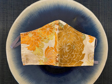 Japanese Vintage Silk Maruobi Mask (Orange Yokiku)