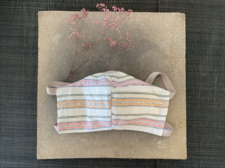 Japanese Vintage Cotton Mask (Pink Stripe)