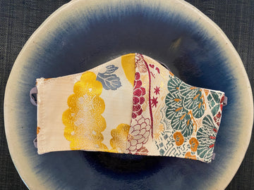 Japanese Vintage Silk Maruobi Mask (Red x Gold Kumo)
