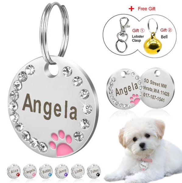 amvaal print on demand amazing vanity allure pets collar tag dog cat wall frame, rhinestone frame, phone case