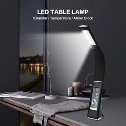 LED Table Lamp With Calendar Temperature Alarm Clock Premium