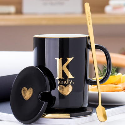 400ml Creative Ceramic Mug For First Letter Of Your Name With Gold Finger Print Amvaal