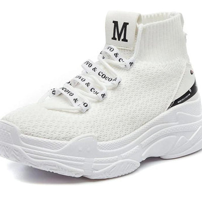 High Top Sneakers Men Unisex Knit Upper Breathable Shoes