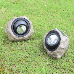 Solar Lamp Simulate Resin Stone Lamp Warm Light